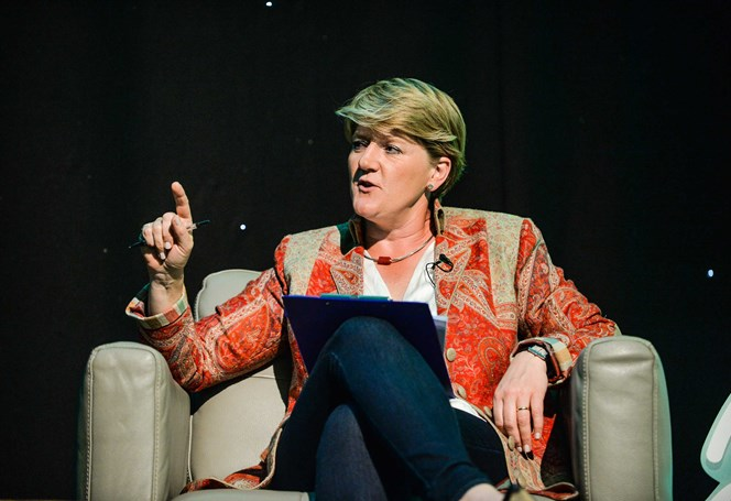 Claire Balding speaking at event